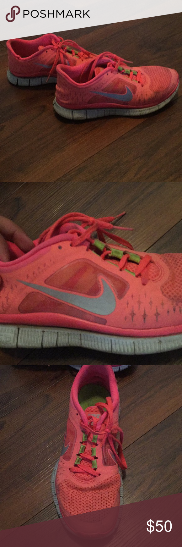 wholesale dealer 3557d 24e1a peach and neon green accents Nike free run 3, 5.0 Great condition, very  comfortable Very lightweight Will wash   clean before shipping out Nike  Shoes ...