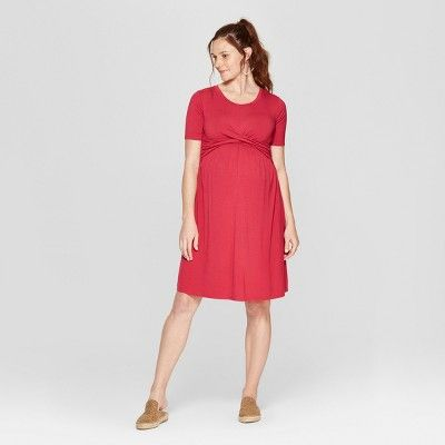128dcc54bdd Maternity Short Sleeve Twist Knit Dress - Isabel Maternity by Ingrid ...