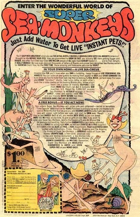 Sea Monkeys 1976 Sea Monkeys Vintage Ads Classic Comic Books