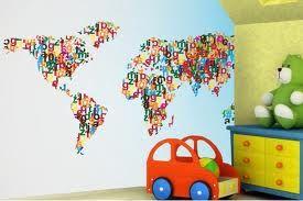 World map wallpaper childrens style pinterest wallpaper world map wallpaper gumiabroncs Gallery