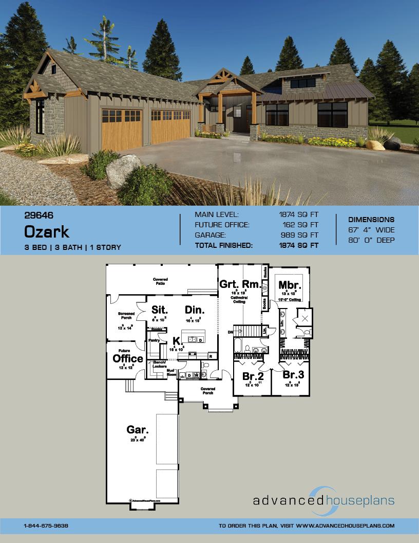 1 Story Craftsman Plan Ozark Rustic House Plans Rustic House Rustic Houses Exterior