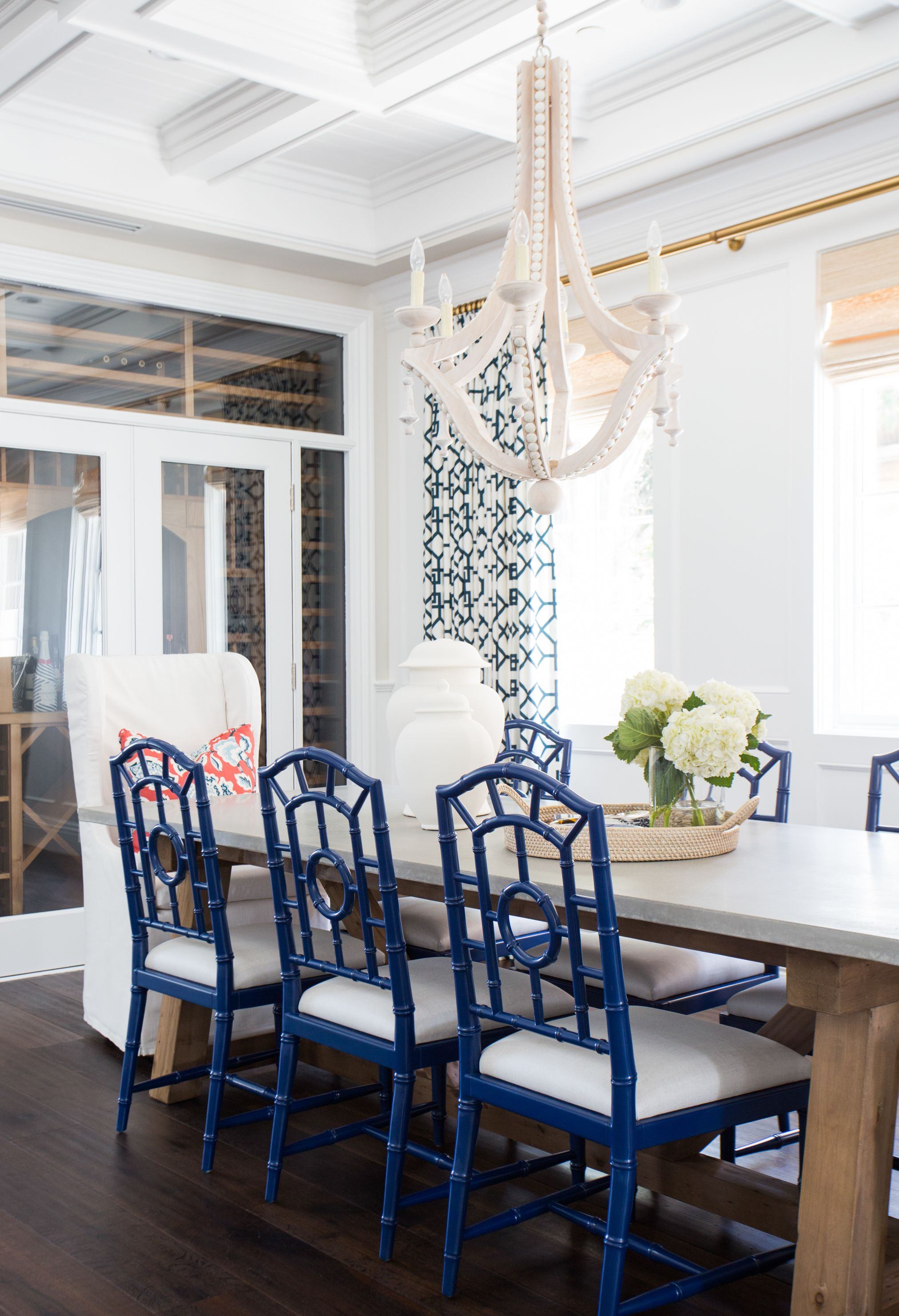Coastal dining room blue and white