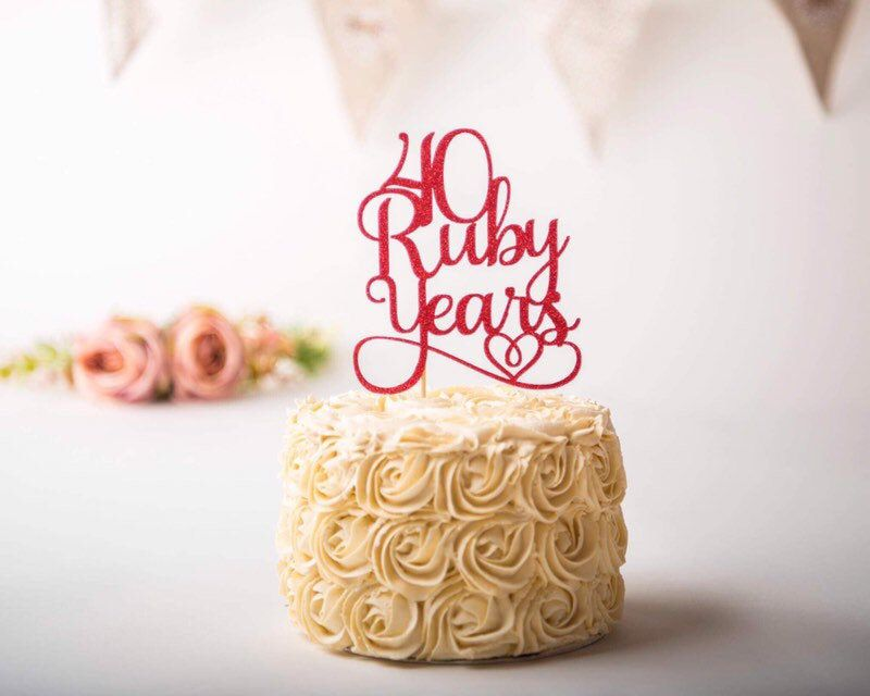 Ruby wedding anniversary cake topper Wedding anniversary Double Sided 40 Years