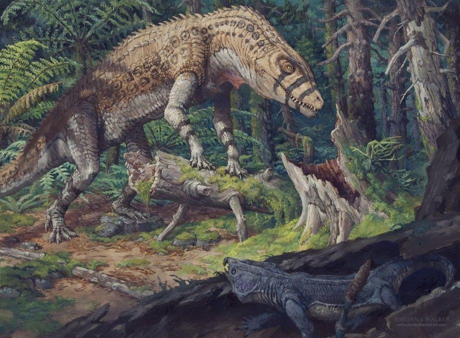 Postosuchus in Pursuit, an art print by Jordan K Walker