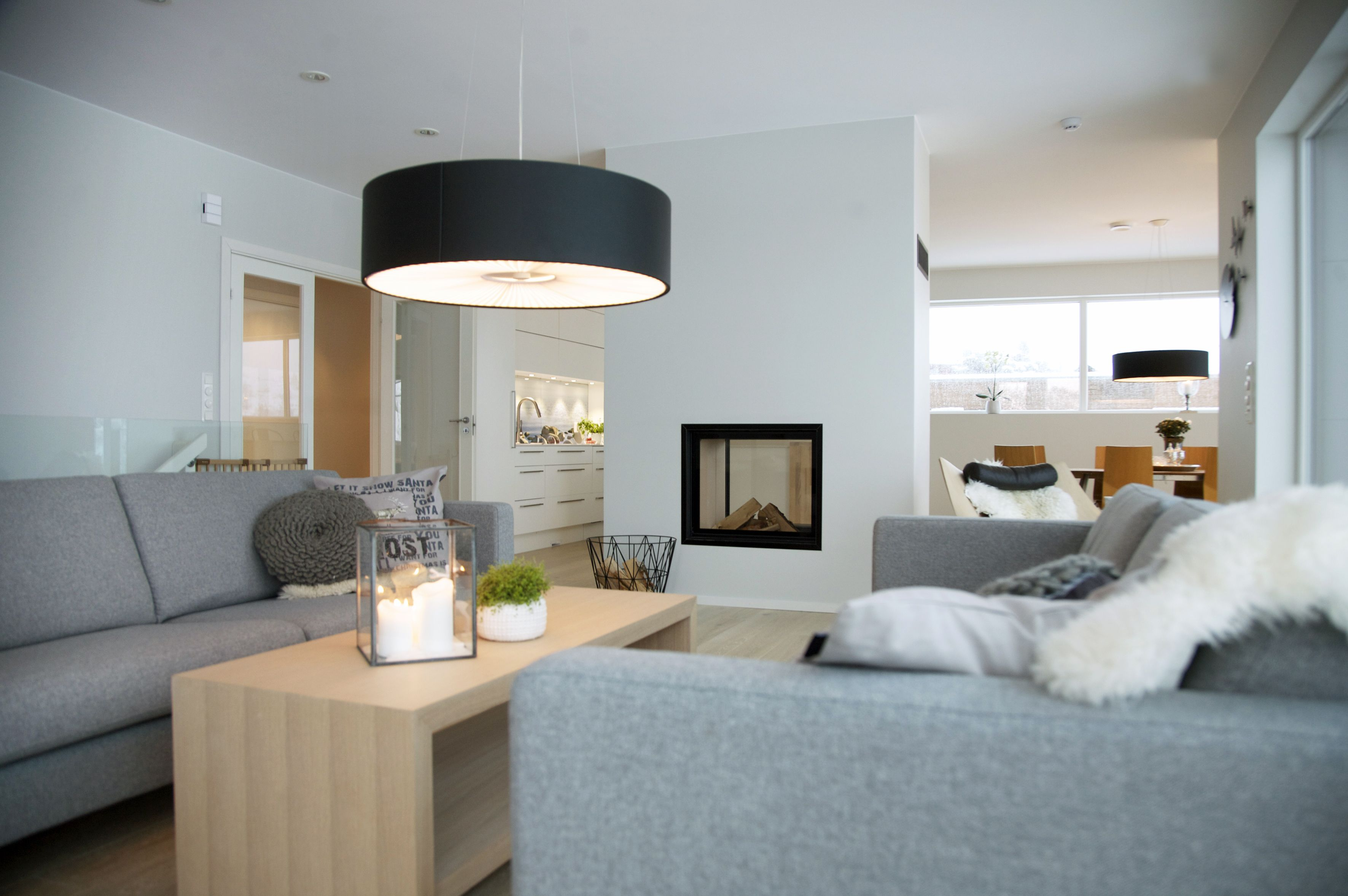 Black lamps, Fireplaces and Sofas on Pinterest