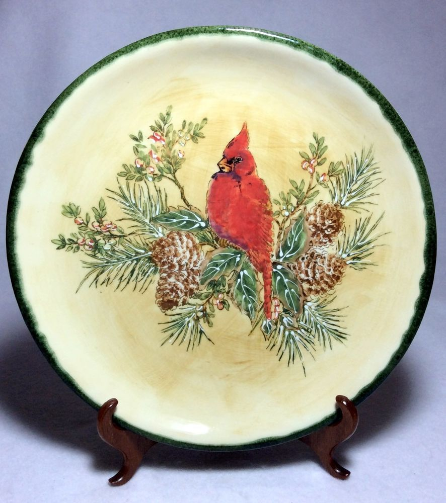 "Decorative Dinner Plates Hand Painted Cardinal Decorative Plate  Dinner Plate10 ¾""."