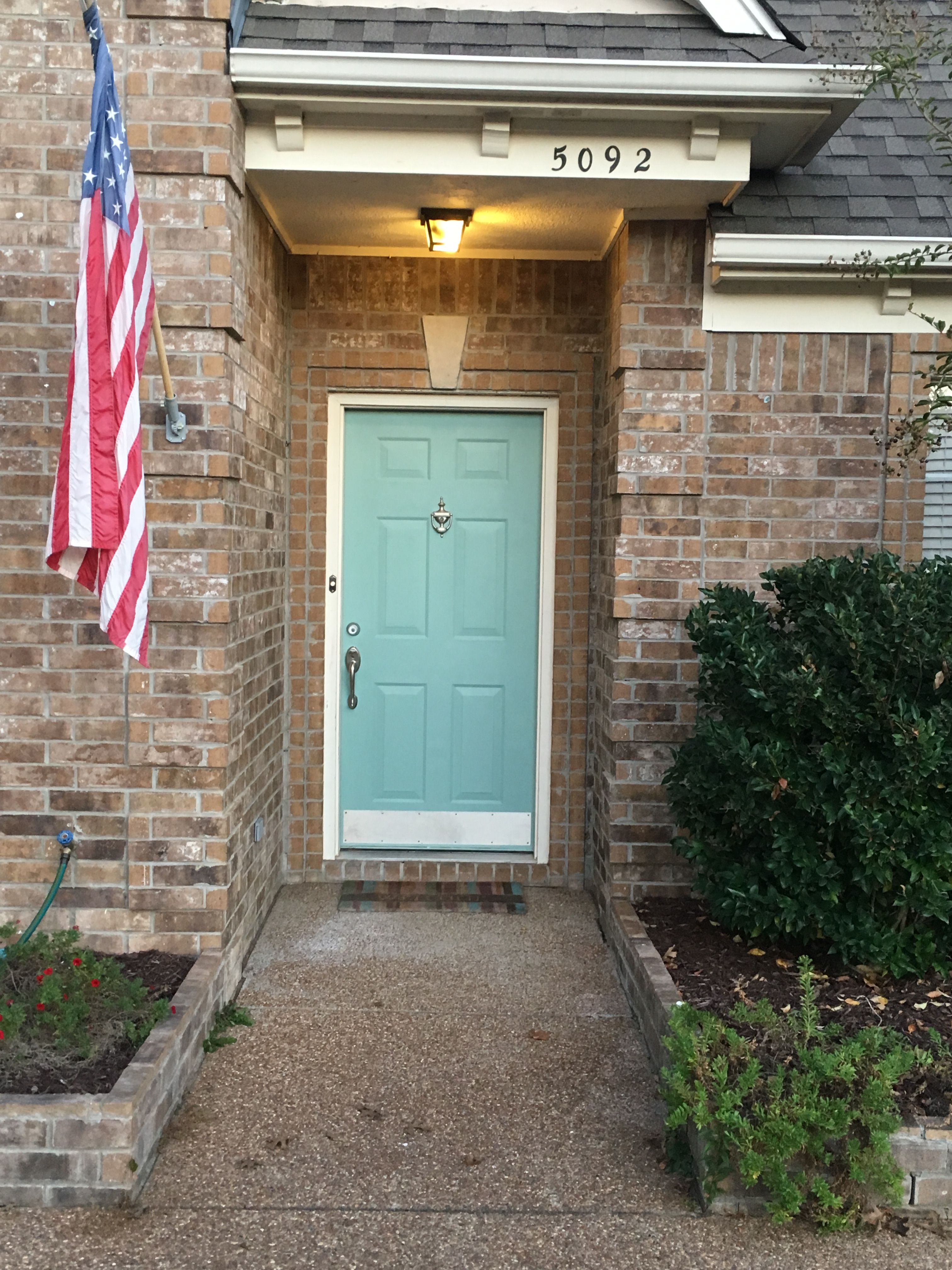 Blue green front door on brick house parakeet pete by - Door colors for brown house ...