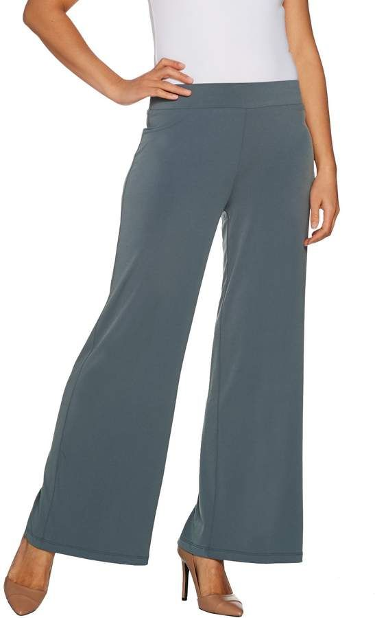 Susan Graver Regular Liquid Knit Wide Leg Pants With Back Slits