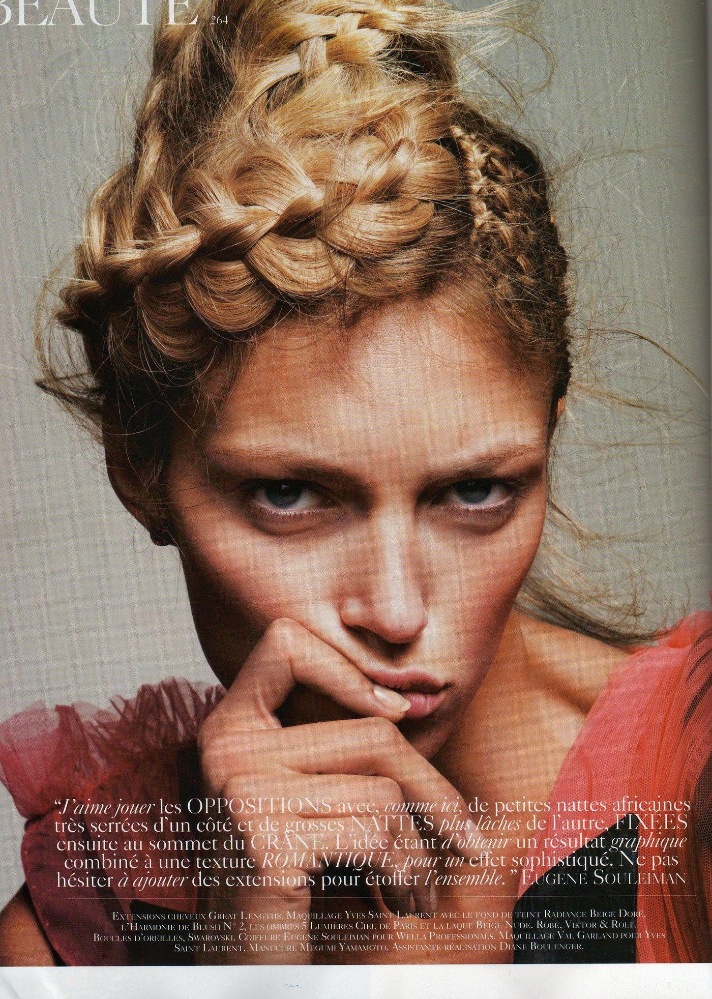 """Tetes a Tresses"""" Vogue Paris March 2010 model Anja Rubik"""