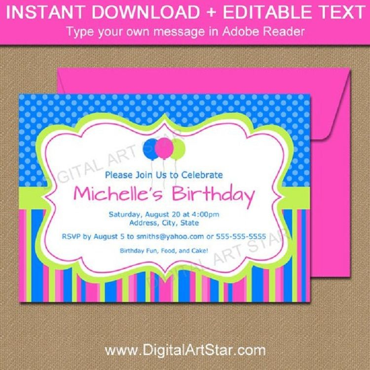 Pink Birthday Invitation Email Sample