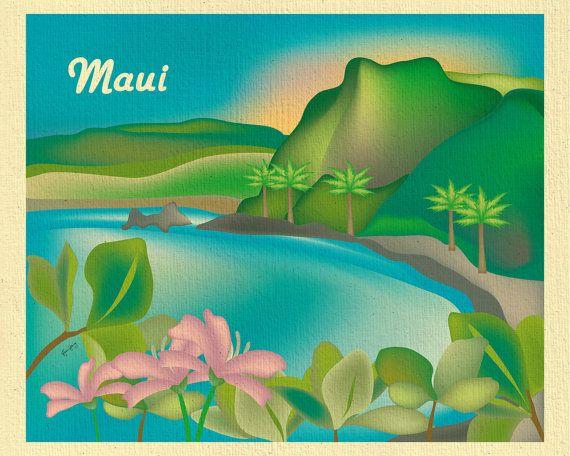 Maui Art Print Maui Wall Art Maui Canvas Maui Poster Maui Etsy Scenic Wall Art Island Art Hawaii Wall Art