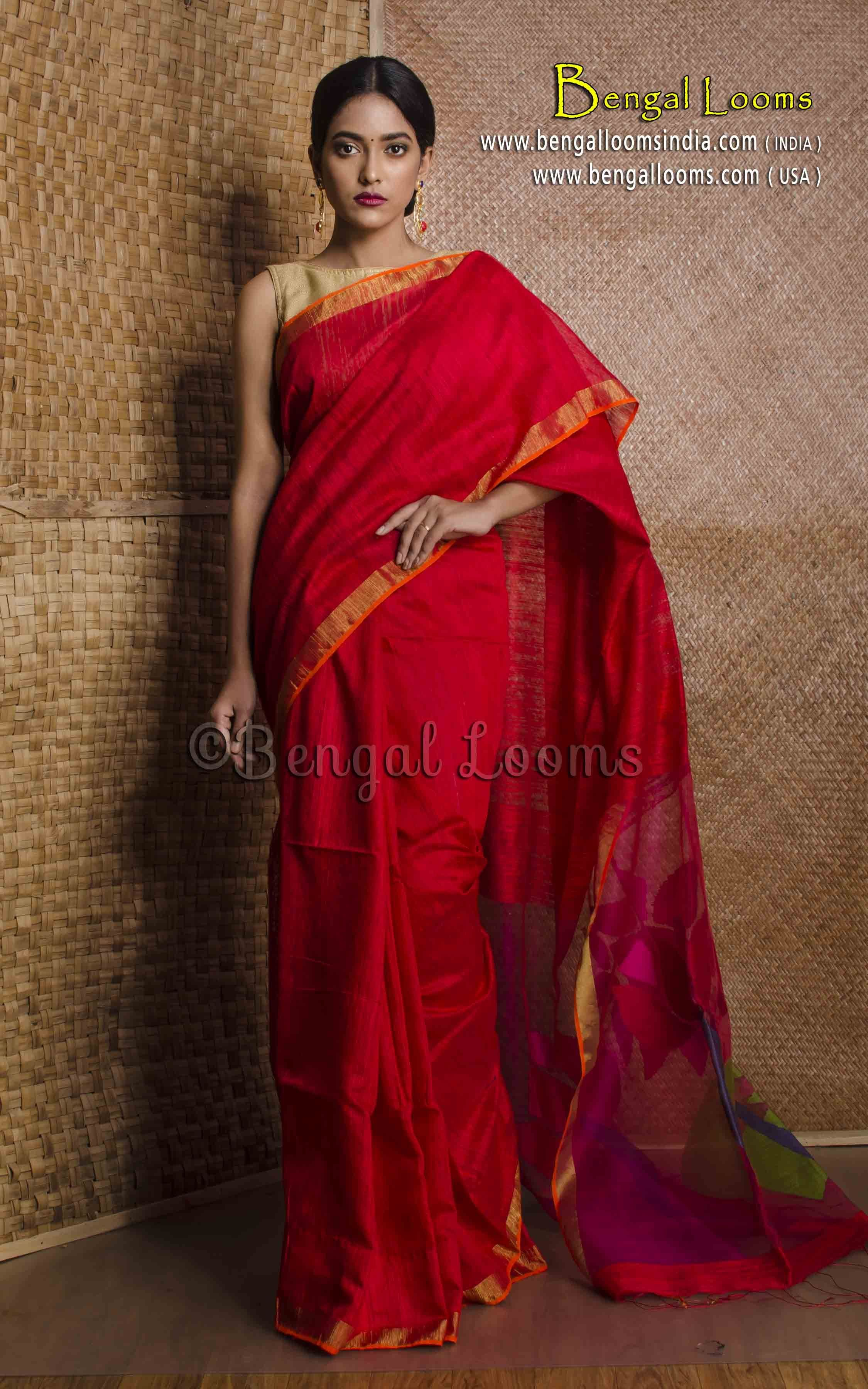 4f8cb59c4371d Pure Handloom Khadi Tussar Silk Saree with Resham Jamdani Pallu in ...