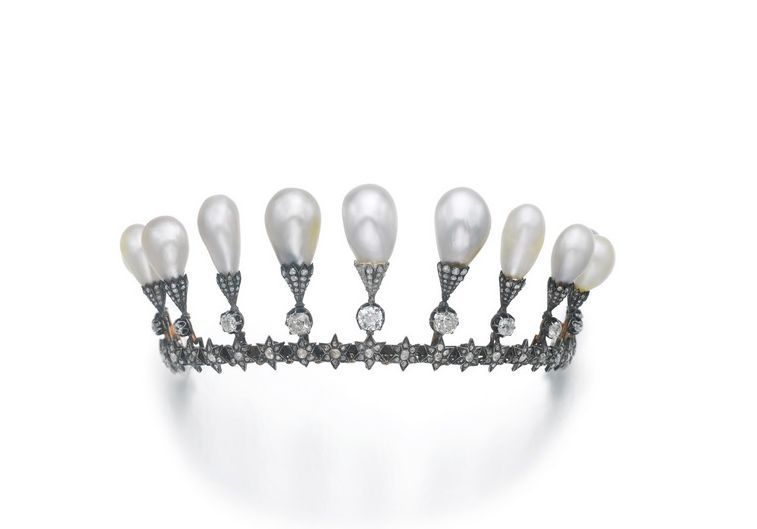 A large Belle Epoque baroque pearl tiara, circa 1860s,  formerly the property of a Noble Family. More infor from Sotheby's.   http://www.sothebys.com/en/auctions/ecatalogue/2014/magnificent-jewels-and-noble-jewels-ge1505/lot.500.html