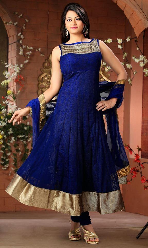 ATTRACTIVE #ROYAL BLUE #INDIAN #ANARKALI DRESS IN #JUTE NET | لبس ...