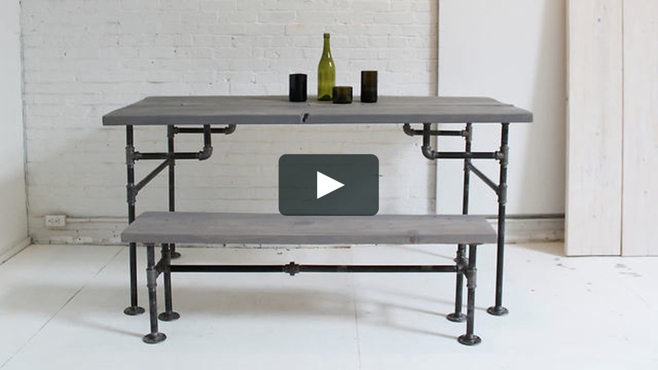 This episode of HomeMade Modern shows how to make a table out of 2x12s and iron pipe.
