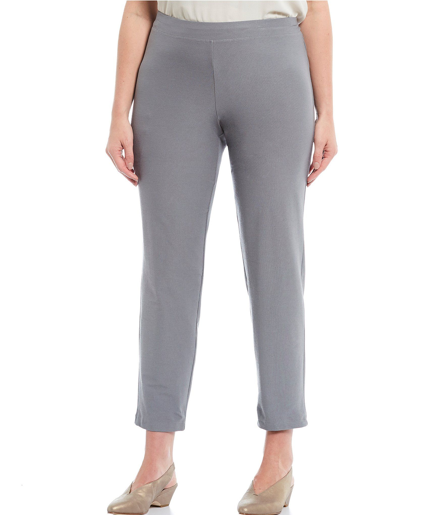 Eileen Fisher Plus Size Slim Ankle Pant With Yoke - Pewter 1X
