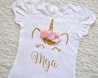 920e3ef4d Color de rosa y oro cumpleaños unicornio camisa