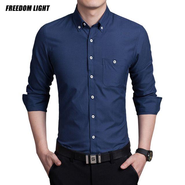 81482597ef Calidad superior de Manga Larga Camisa Delgada de la Aptitud de Los Hombres  Sólidos de Algodón Para Hombre Camisas de Vestido Más Tamaño 3XL