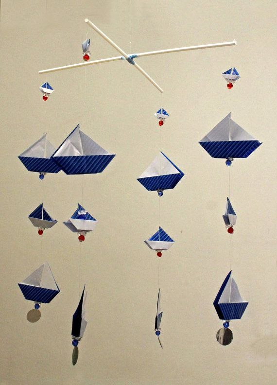 origami sail boats mobile on a cross hanger by. Black Bedroom Furniture Sets. Home Design Ideas