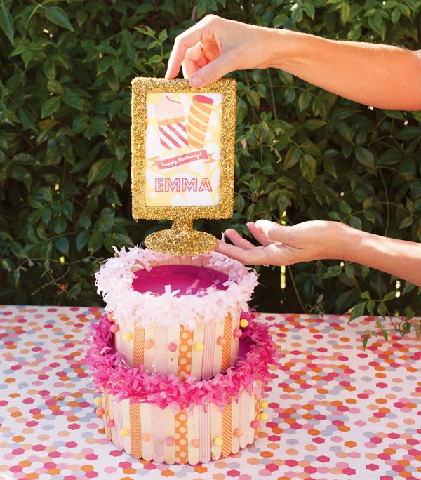 Diy Tutorial Popsicle Stick Cake Centerpiece Hostess With The Mostess Craft Stick Crafts Popsicle Stick Crafts Stick Centerpieces