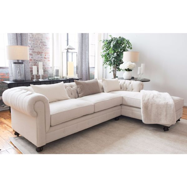 Estate Collection Seashell Off White Fabric Sectional Sofa
