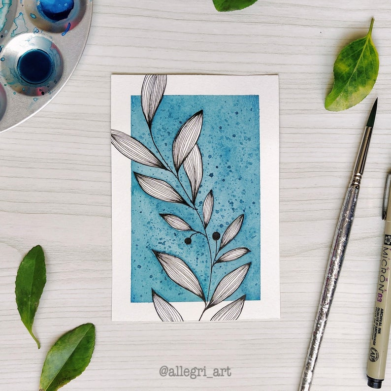 Leaves with blue background Nature fine line Handm