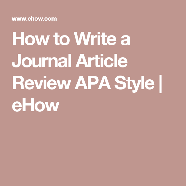 Write article review apa style