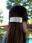 Floral Pattern Wide Silver Metal Barrette Hair Clip