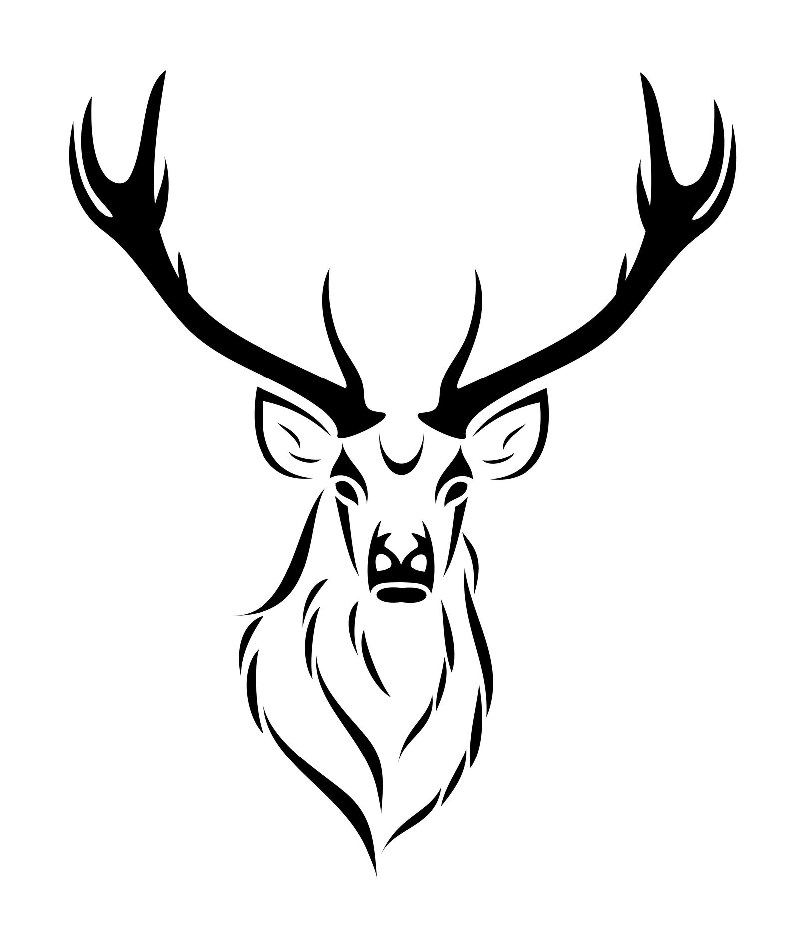 Drawn stag tribal #3 | Sillouette | Deer tattoo, Stag tattoo