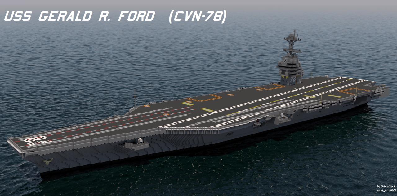 USS Gerald R Ford CVN Scale Minecraft Project AC - Minecraft moderne hauser plane