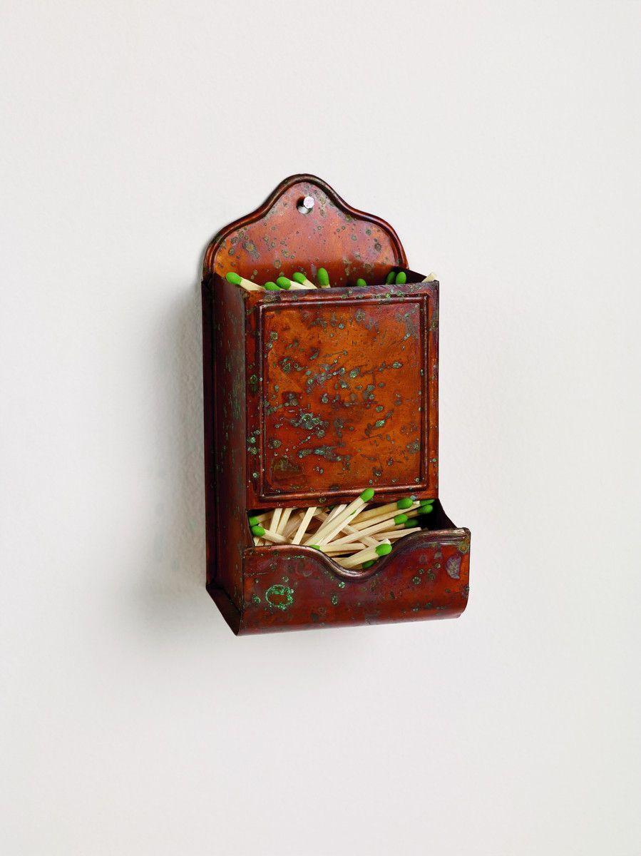 Antique Copper Vintage Match Holder
