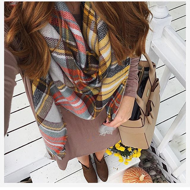 """Simply gorgeous look from @whatwhitwore in our Light Orange Tartan Scarf. This is quickly becoming one of my go to accessories.  Grab yours on our site (link in profile)."" Photo taken by @purple_peridot on Instagram, pinned via the InstaPin iOS App! http://www.instapinapp.com (10/07/2015)"