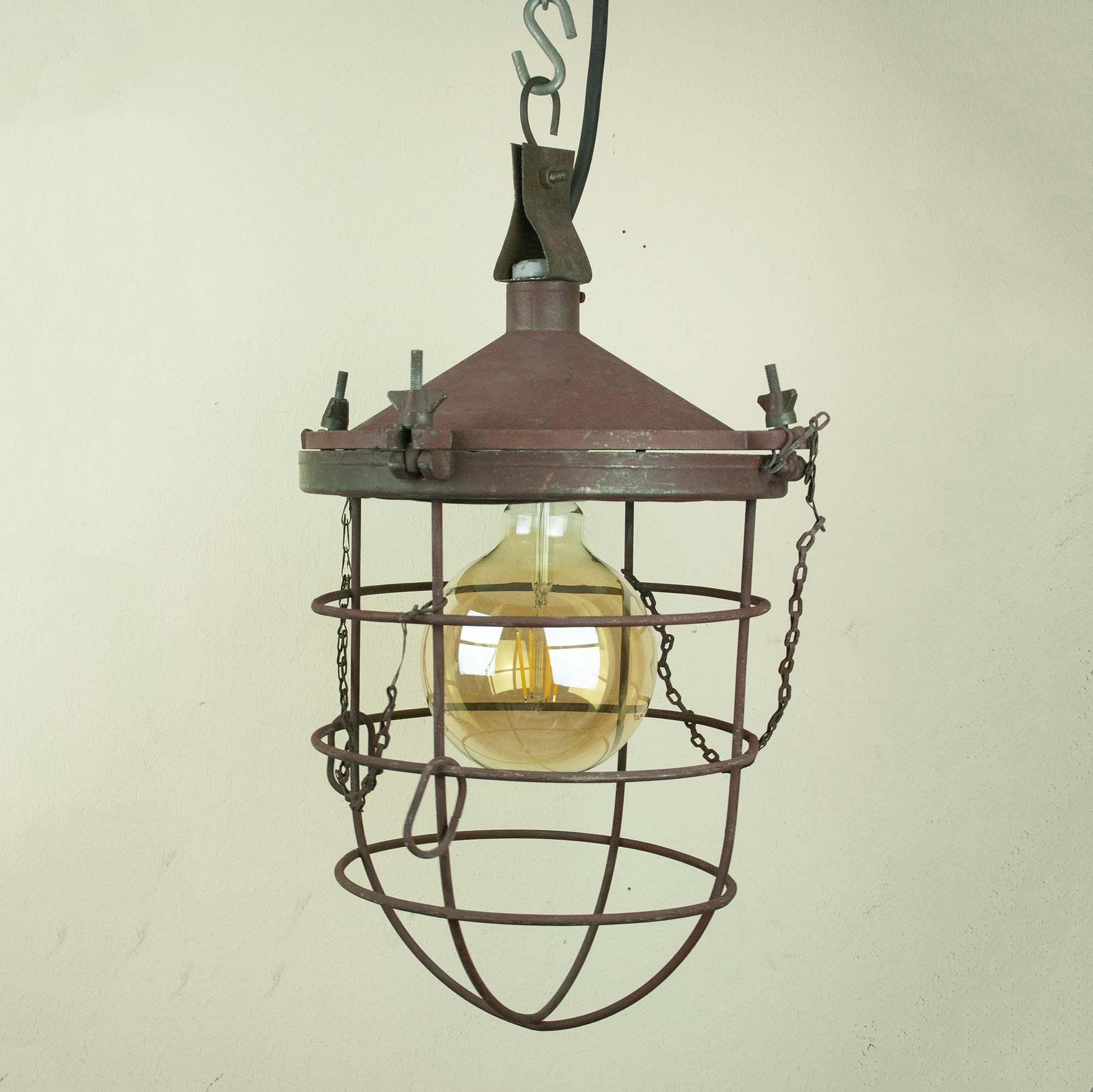 Industrial Pendant Light Vintage Factory Lamp Old Cage Light In