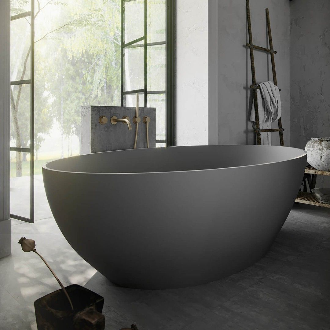 Bycocoon Posted To Instagram Grey Freestanding Tub With Golden Taps