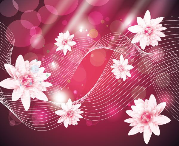 Abstract wave background with pink flowers vector free background abstract wave background with pink flowers vector free mightylinksfo