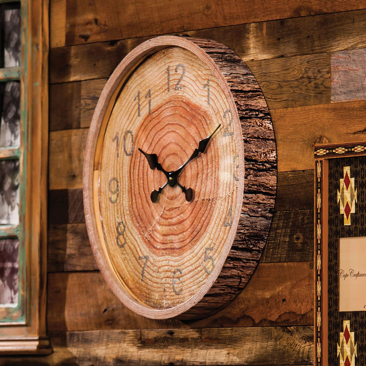 Round wood bark wall clock cabin pinterest wood bark wall round wood bark wall clock amipublicfo Image collections
