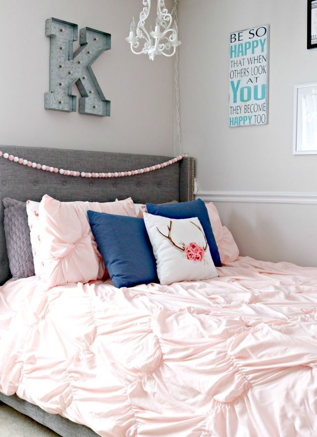 Teen Girl\'s Bedroom Makeover with Navy Blue, Grey and Blush Pink ...