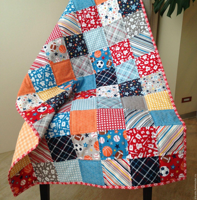 ЧЕМПИОН лоскутное покрывало для мальчика, пэчворк - лоскутное шитье, лоскутное одеяло, лоскутное покрывало