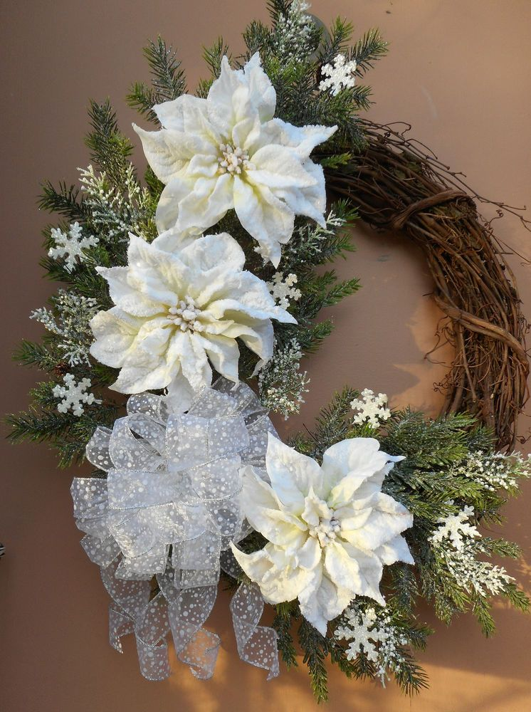 27 Christmas Holiday White Flocked Poinsettia Grapevine Wreath Handmade Grapevine Wreath Christmas Centerpieces Xmas Wreaths