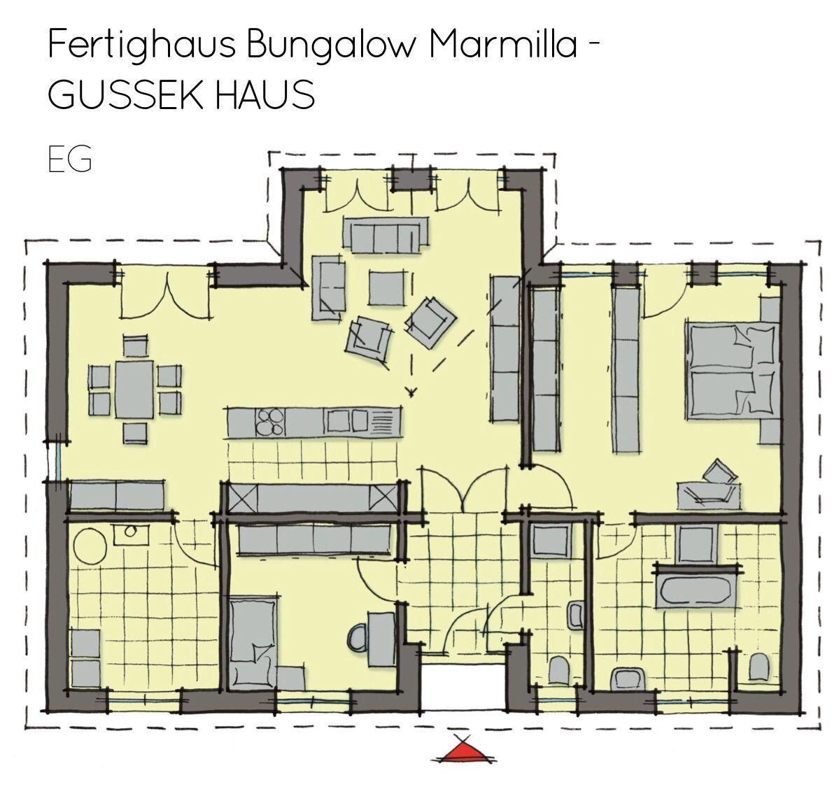 Grundriss Bungalow Haus Barrierefrei Mit Satteldach Wintergarten