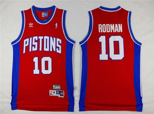 detailed look 269a3 93379 Detroit Pistons #10 Dennis Rodman Red Hardwood Classics Soul ...