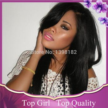 New Arrival! Brazilian Virgin Human Hair Lace Front Wig Natural Black Sexy Straight Lace Front Wig In Stock Free Shipping!