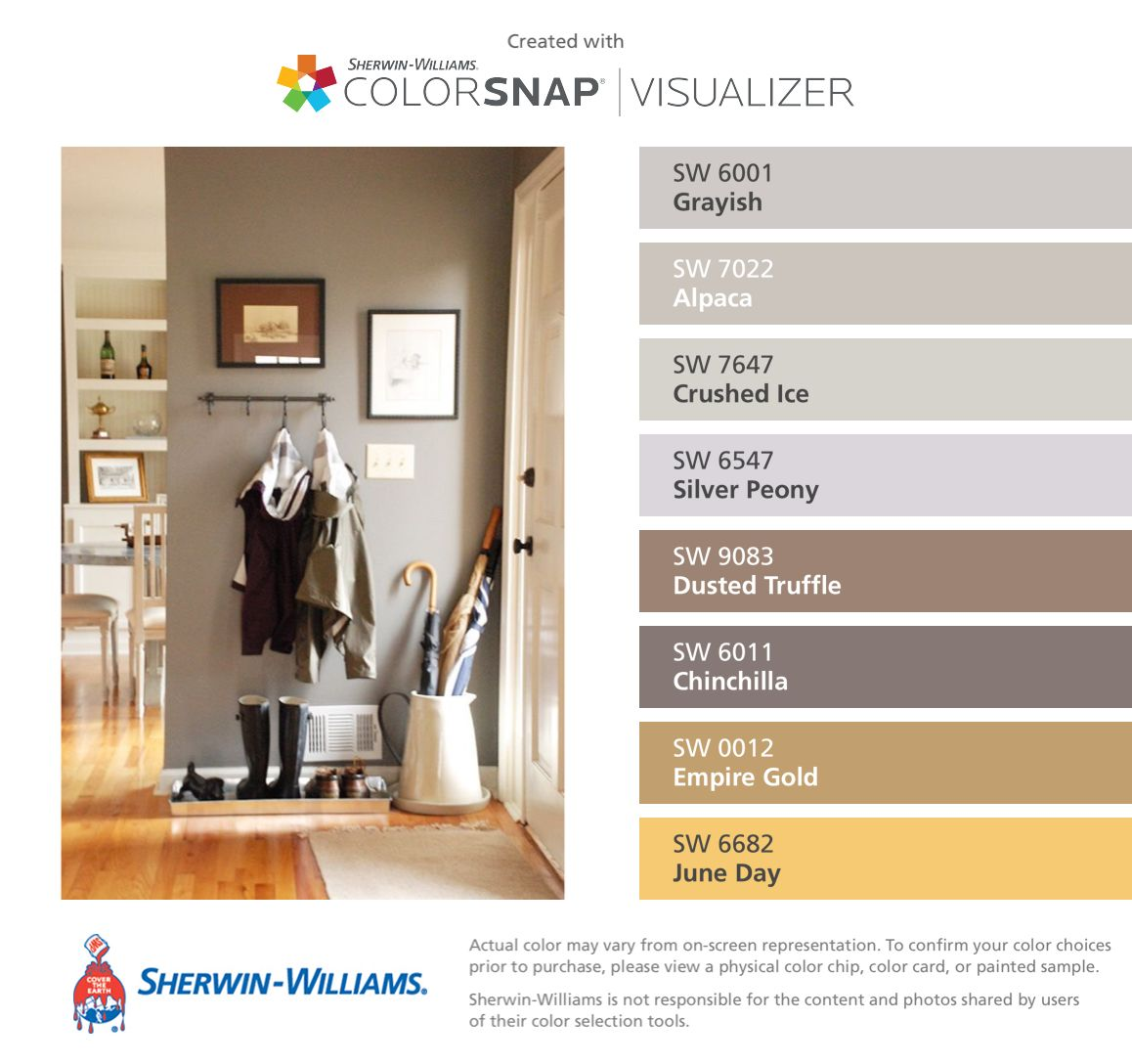 Paint colors from Chip It! by Sherwin-Williams LIKE THE GRAYISH ...