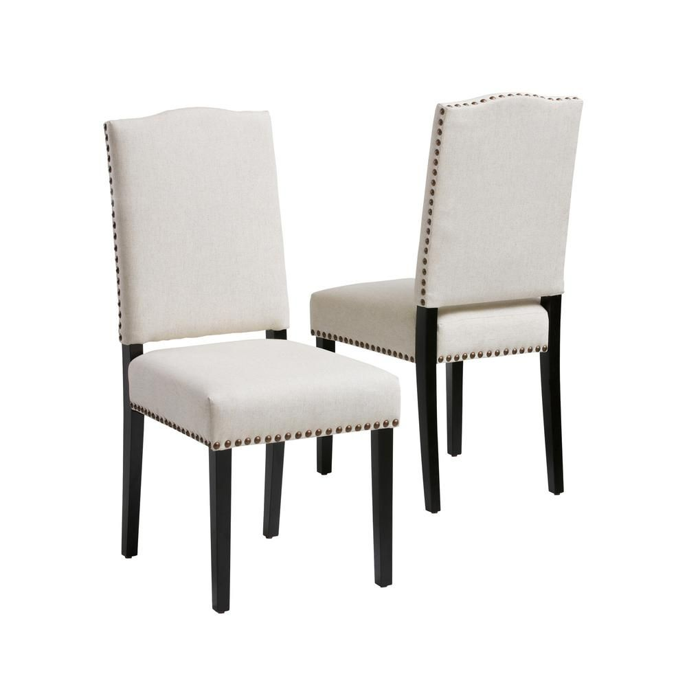 Noble House Brunello Beige Fabric Studded Dining Chairs ...