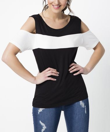 Black & White Color Block Shoulder Cutout Scoop Neck Top #zulily #zulilyfinds