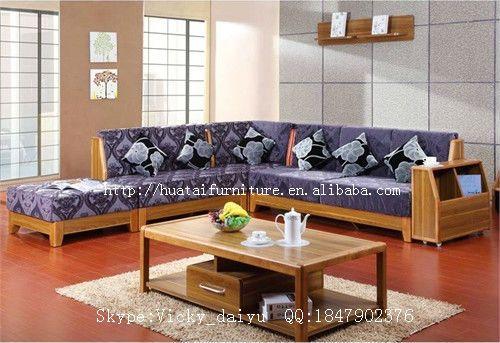 Solid Wood Sofa Living Room Furniture Fabric Comfortable L Shaped