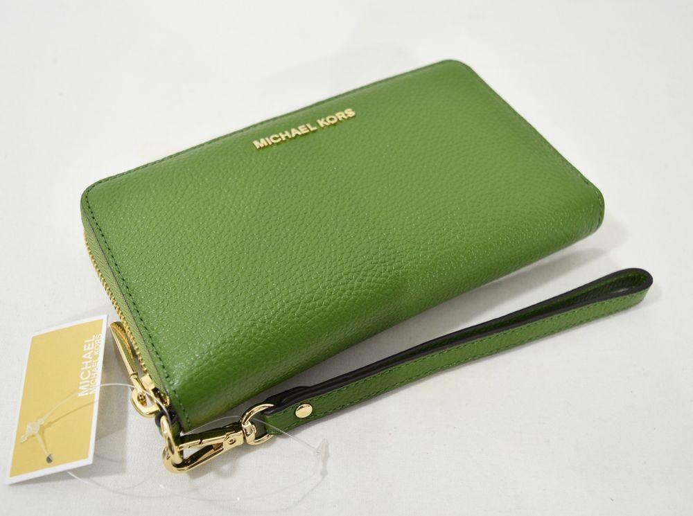 decd22f33672 NWT Michael Kors Mercer Large Leather Smartphone Wristlet  Wallet in True  Green  MichaelKors  WristletWallet