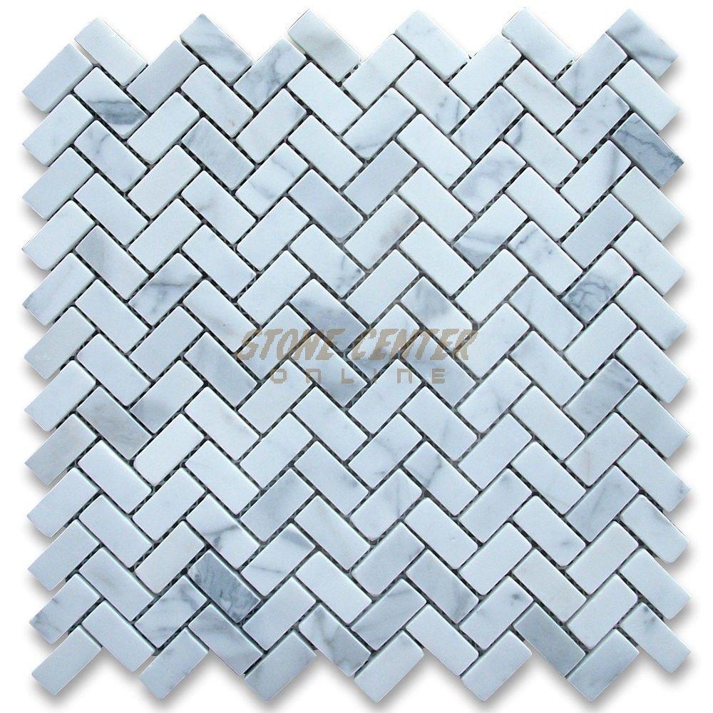 Calacatta Gold Marble 5 8x1 1 4 Herringbone Mosaic Tile Honed Herringbone Mosaic Tile White Marble Mosaic Pearl Tile