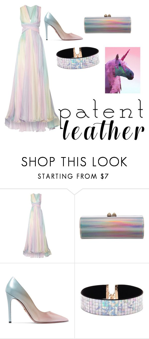 """""""patent leather unicorn"""" by crispstina ❤ liked on Polyvore featuring Zuhair Murad, Jimmy Choo, Prada and Forever 21"""