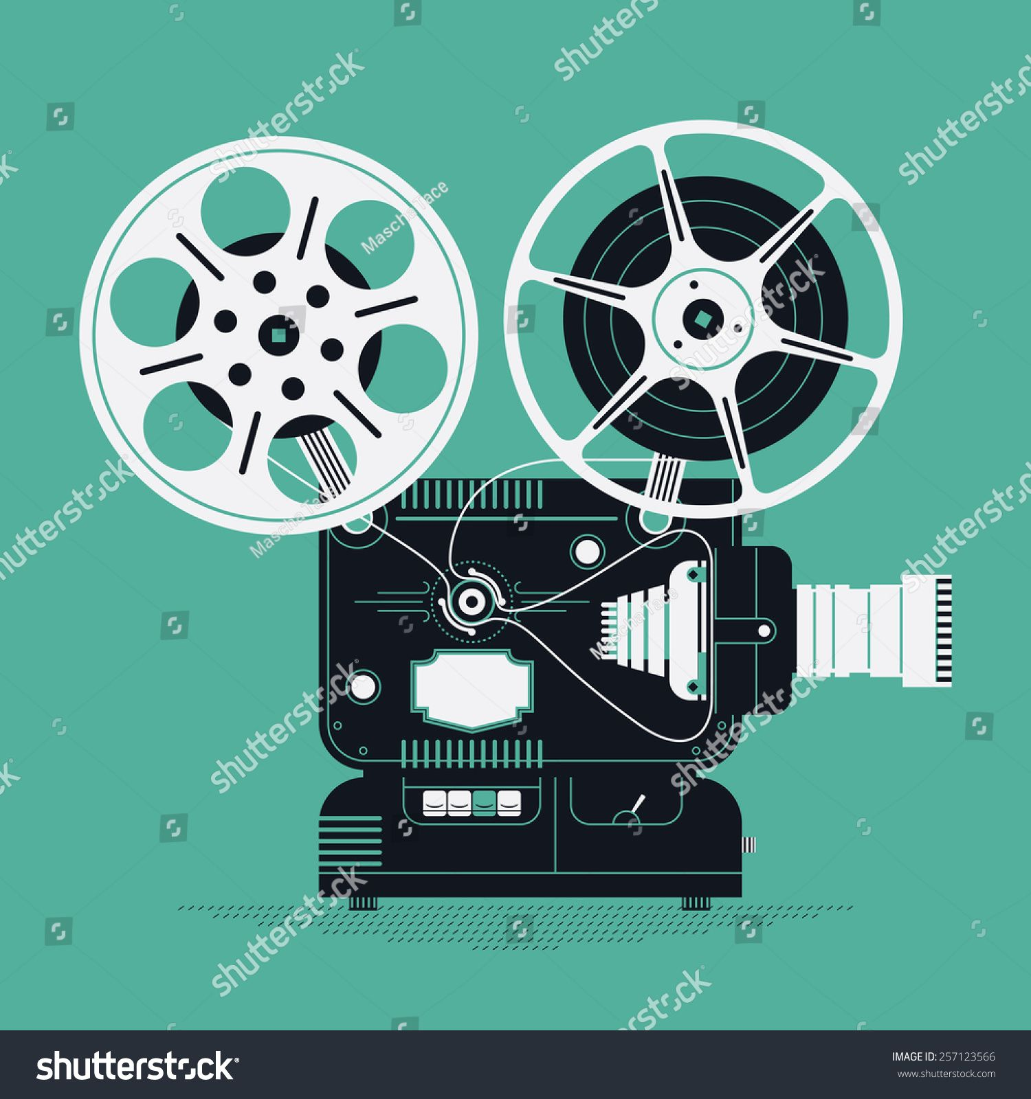 Cool Retro Movie Projector Vector Detailed Illustration Analog Device Cinema Motion Picture Film Projector Wit In 2020 Movie Projector Retro Film Camera Illustration